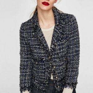 ZARA - Navy tweed fringe blazer jacket